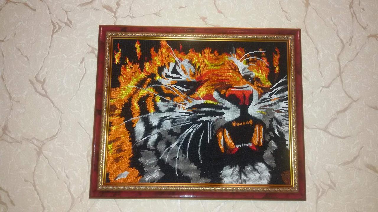 """Схема для повної зашиття бісером - """"Вогняний тигр"""""""