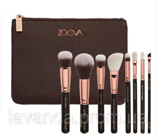 Набор кистей для макияжа Zoeva  ( реплика ) 8 штук с логотипом и косметичкой