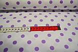 Ткань хлопковая с фиолетовым горошком 11 мм на белом фоне № 517, фото 2