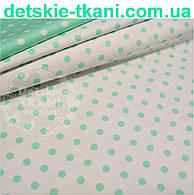 Ткань хлопковая с мятным горошком 11 мм на белом фоне № 523