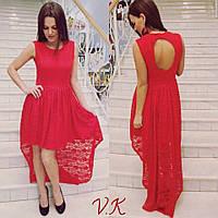 Женское стильное платье с удлинением сзади (2 цвета)