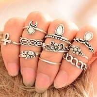 Набор колец (10 штук) на фаланги пальцев под черненное серебро.
