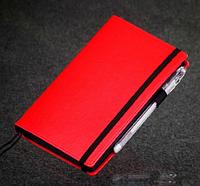 Блокнот с черной бумагой Красный мини дизайнерский картон,гладкая матовая экокожа 192 листа
