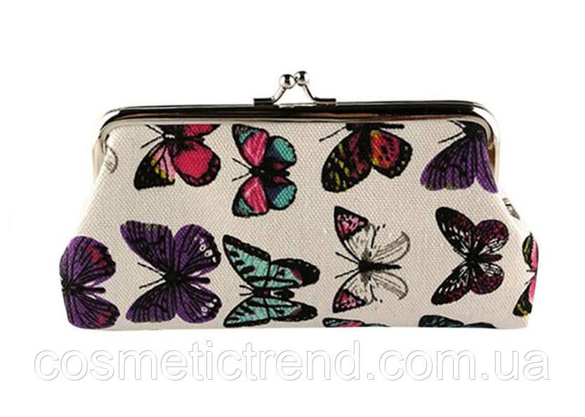 Косметичка женская на фермуаре светло-бежевая с бабочками Vintage Butterfly Ivory 19*10*2 см