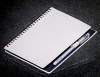 Блокнот с черной бумагой на пружине 80 страниц экокожа
