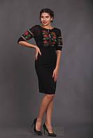 Женская вышиванка из черного шифона (красно-зеленая вышивка)