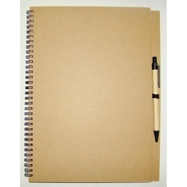 Эко-блокнот с ручкой 7534-0207 А4, на спирали сбоку, обложка биоматериал