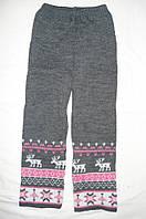 """Детские шерстяные брюки """"Олени"""" для девочки, цвет серый с розовым,"""