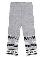 """Детские шерстяные брюки """"Олени"""" для девочки, цвет светло серый,"""