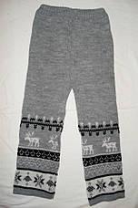 """Детские шерстяные брюки """"Олени"""" для девочки, цвет светло серый,, фото 2"""