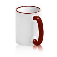 Чашка сублимационная с цв.ободком 425 мл Бордовая