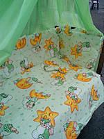 Комплект в детскую кроватку с балдахином 8 -9 элементов
