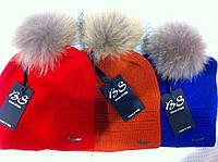Зимняя шапка с флисом и енотовым помпоном