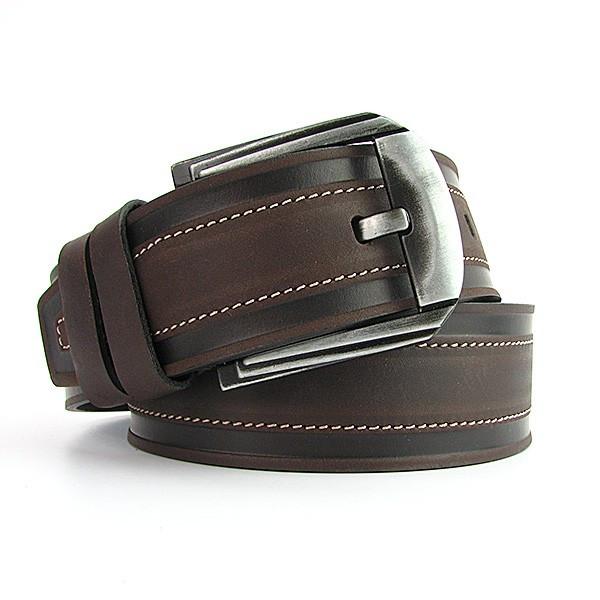 Ремень кожаный мужской под джинсы кофе Bond 53161 Турция
