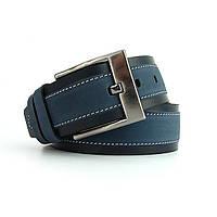 Ремень кожаный мужской под джинсы синий Bond 57862 Турция