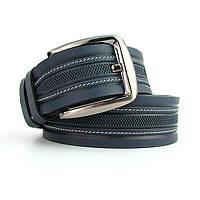 Ремень кожаный мужской под джинсы синий Bond 53835 Турция