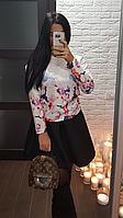 Женский свитер джемпер свитшот с цветами