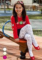 Детские колготки белые с рисунком Mona Amelia 60 den