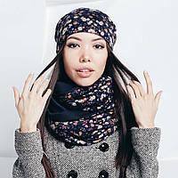 Цветочный набор: шарф-снуд и шапка