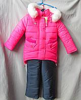 Комбинезон детский оптом, зимний на девочку с курткой-паркой розового цвета
