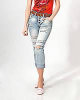 Джинсы Lady Forgina рванка коричневый ремень 0700 стильные  женские шорты, джинсы, брюки, штаны женская одежда