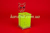 Подставка для ложек и вилок навесная цветная квадратная H15см B10см