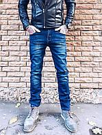 Джинсы мужские синие на флисе 2652  мужская одежда стильные брюки джинсы шорты