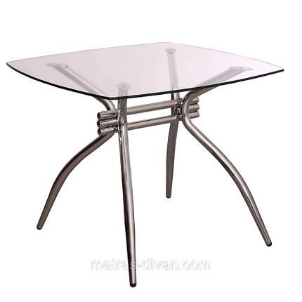 Стол Оскар хром/стекло 90х90х75, фото 2