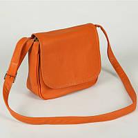Оранжевая сумка через плечо М52-2 среднего размера молодежная женская летняя светлого тона