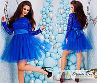 Синее вечернее женское платье с фатиновой юбкой