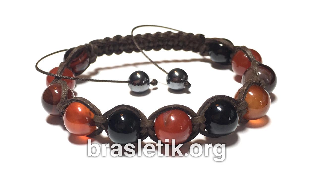 Кожаный браслет с натуральным камнем Сардоникс shamballa