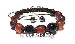 Кожаный браслет из сардоникса shamballa