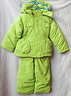 Комбинезон детский оптом, зимний на девочку салатовый, куртка  на резинке с вышивкой