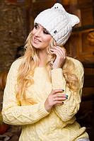 Шапка зимняя. Шапка женская. Теплая зимняя шапка. Шапка молочного цвета.  Женская шапка.