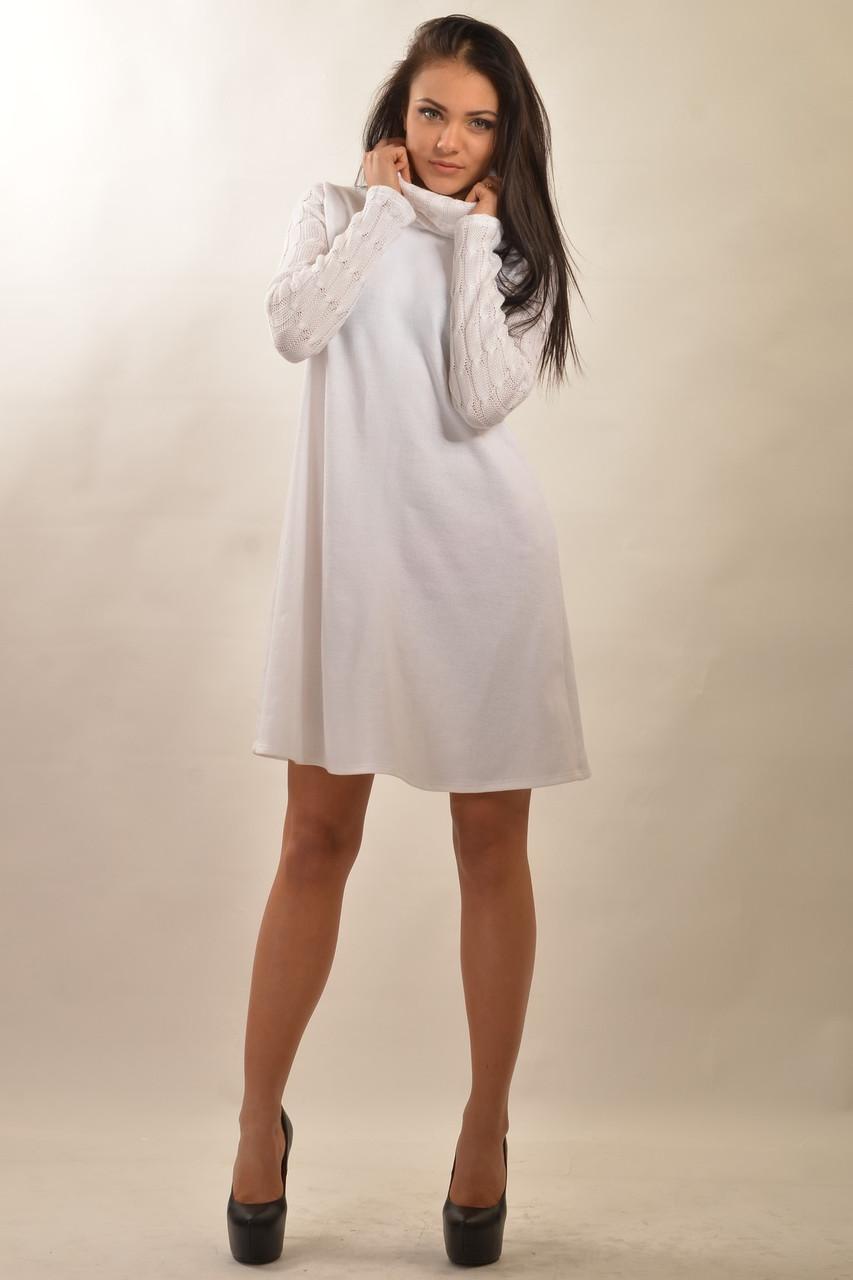 Вязаное теплое женское платье в трех цветах