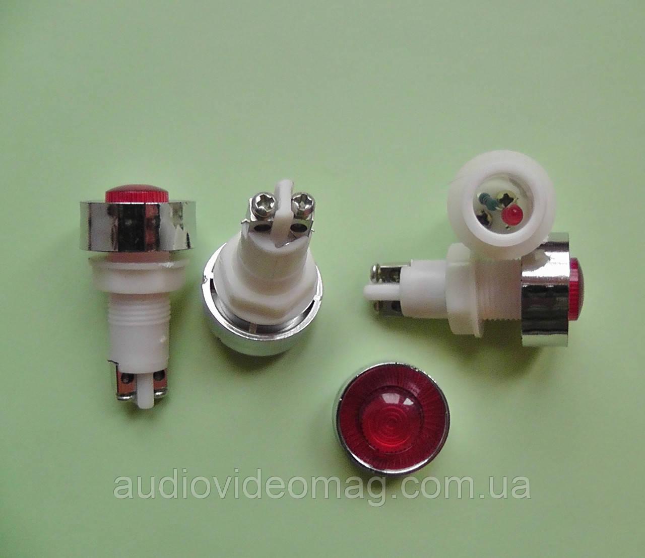 Индикатор светодиодный 12 V на панель, красный