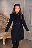 Пальто кашемировое для девочки синее Оксфорд