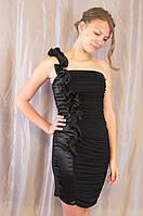 Элегантное модное женское нарядное вечернее платье с воланом