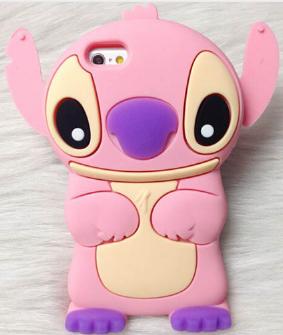 Силиконовый розовый чехол Ститч на Iphone 5/5s