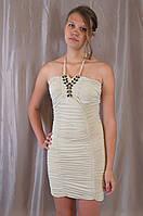 Элегантное модное женское нарядное платье с украшением из страз