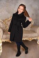 Пальто кашемировое для девочки черное Оксфорд