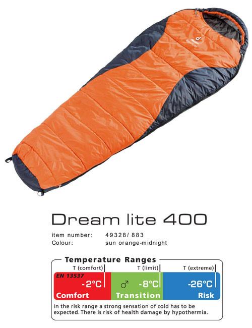 Зимний спальный мешок Dream Lite 400 DEUTER 49328 8830 0 оранжевый с синим