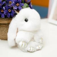Брелок на сумку меховой кролик Rex Fendi charm (Рекс Фенди) белый, 14 см