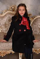 Детское  кашемировое пальто для девочки Китти черное