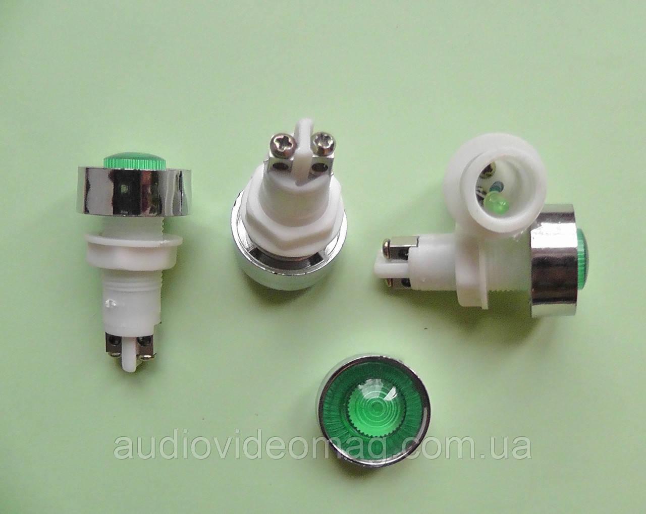 Индикатор светодиодный 12 V на панель, зеленый