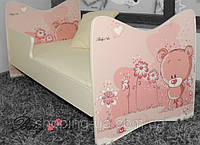 """Детская кровать Junior BABY BOO + матрас 140 х 70см """"Розовый мишка"""""""