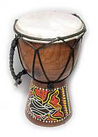 Барабан расписной дерево с кожей (15х9,5х9,5 см)