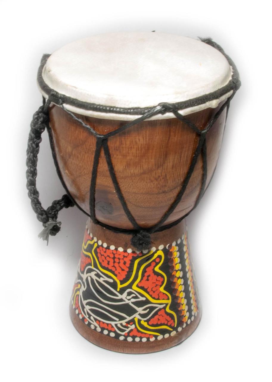 Барабан расписной дерево с кожей (15х9,5х9,5 см) - Магазин подарков Часики в Харькове