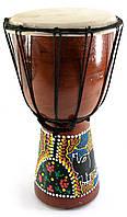 Барабан расписной дерево с кожей (30х16.5х16.5 см)