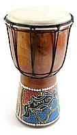 Барабан расписной дерево с кожей (24х14х14 см)